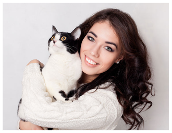 Young Lady With Her Emotional Support Cat