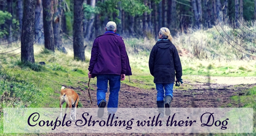 Couple Strolling with their Dog