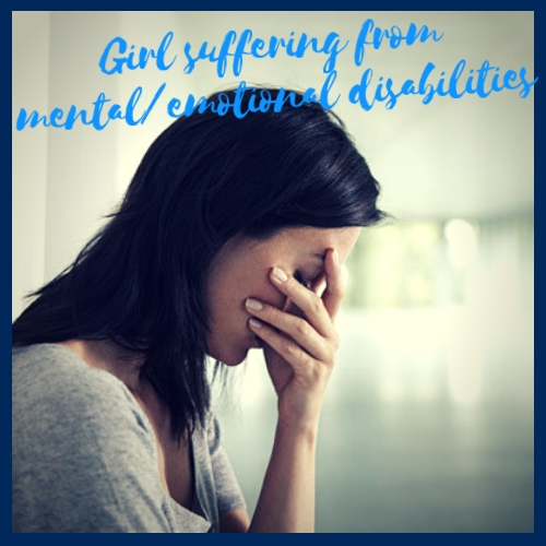 Girl suffering from mental or emotional disabilities