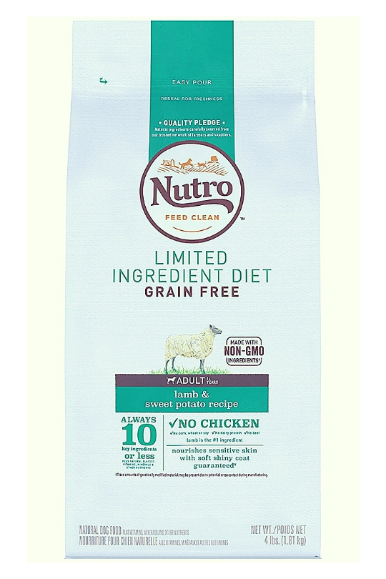 Nutro Limited Ingredient Diet Grain Free Lamb & Sweet Potato Recipe Dog Food 4 Lbs