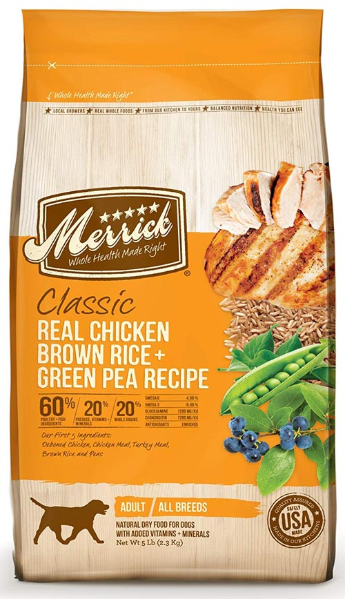 Green Pea, Real Chicken, and Brown Rice Recipe from the Merrick Classic Line