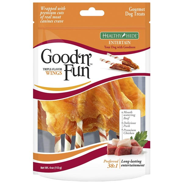 Good n Fun Triple Flavor Wings Beef, Pork & Chicken Dog Chews