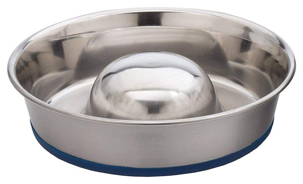 OurPets Durapet Premium Stainless Steel Slow-Feed Dog Bowl