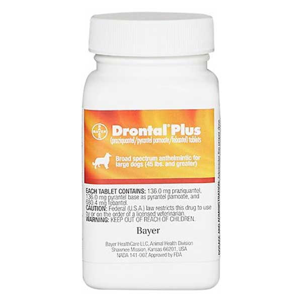 Drontal Plus Tablets for Dogs, over 45 lbs, 1 tablet