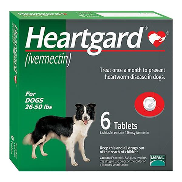 Heartgard Unflavored Tablets for Dogs, 26-50 lbs, 6 treatments