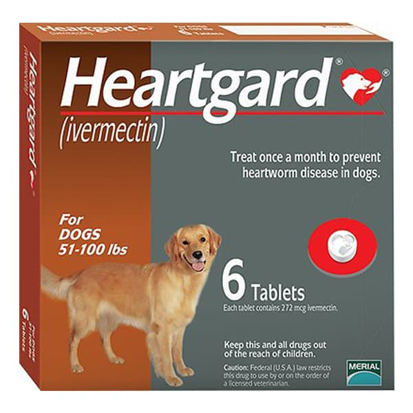 Heartgard Unflavored Tablets for Dogs, 51-100 lbs, 6 treatments