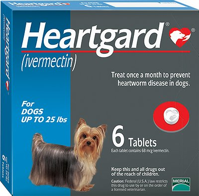 Heartgard Unflavored Tablets for Dogs, up to 25 lbs, 6 treatments