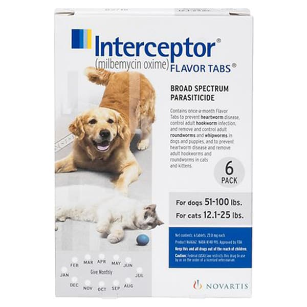 Interceptor Tablets for Dogs 51-100 lbs & Cats 12.1-25 lbs, 6 treatments